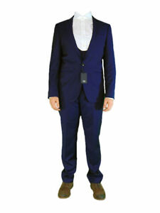 AUSTIN-REED-Mens-Blue-100-Wool-3-Piece-Suit-Set-Jacket-Waistcoat-and-Trousers