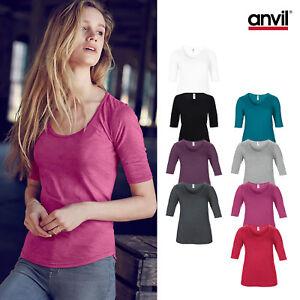 Anvil-Mujer-Triblend-Profundo-Escote-Redondo-Media-Manga-Tee-6756L-Senoras-Camiseta
