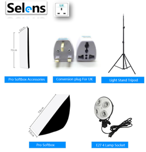 Photo Continuous Lighting Softbox 4in1 E27 Socket Lamp Bulb Holder Stand Tripod