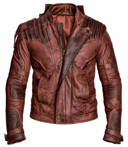 Guardians of the Galaxy 2 Star Lord Reddish Waxed Brown Real Leather Jacket