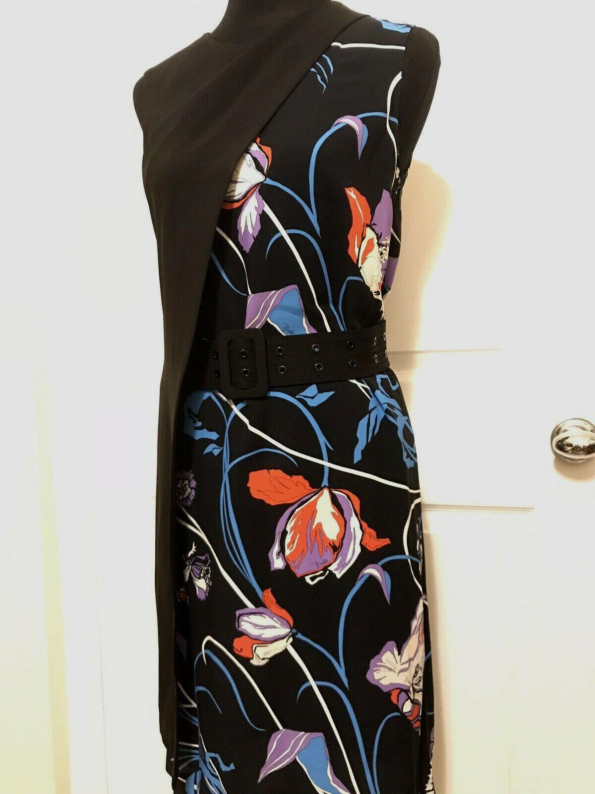 EMILIO PUCCI Floral Print con  paneles Crepe Vestido Con Cinturón <> tamaño 40 Nuevo  entrega rápida