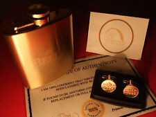 24ct Gold Plated Bells Scotch Whisky Hipflask Cufflinks Set Gift 24k