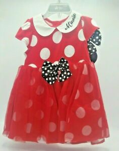 Disney-Baby-Girl-039-s-18-24-Months-Minnie-Mouse-Dress-Ears-Headband-Tulle-Skirt-Red