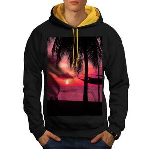 Romantic Men capucha Sunset dorada Black Contrast New Hoodie BBw1gq