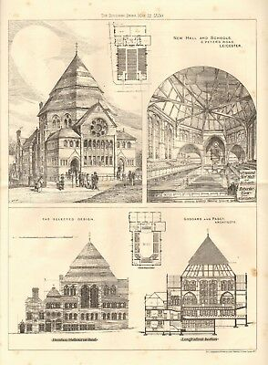 Architecture Leicester 1880 Antique Print New Hall,schools,st Peter's Road