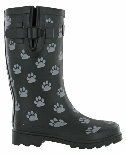Womens Black Calf Wellingtons Dog Paw Half TOSH Wellies Originals Winter Boots