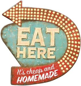 Image Is Loading Retro Diner Kitchen Sign Plaque 034 Eat Here