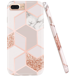 JAHOLAN-Stylish-Shiny-Rose-Gold-Marble-Design-Clear-Bumper-TPU-Soft-Rubber-Phone