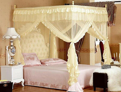 Beige 4 Corners Post Bed Curtain Canopy Mosquito Net For Full Queen Bed Size
