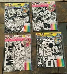 Lot Of 4 New Minnie & Mickey Mouse Velvet Art Coloring Posters with ...