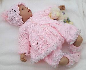 Baby-Knitting-Pattern-DK-59-TO-KNIT-Girls-or-Reborn-Dolls-Lace-Matinee-Set
