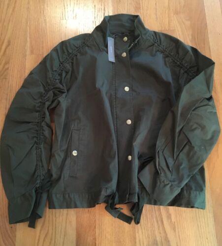 J Crew NWT Ruched-Sleeve Field Jacket Distressed Fatigue  M  L  $120  #J2555