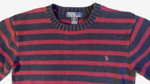 Ralph Lauren Long Sleeve Maroon Navy Striped Pullover Sweater Boys Size XL