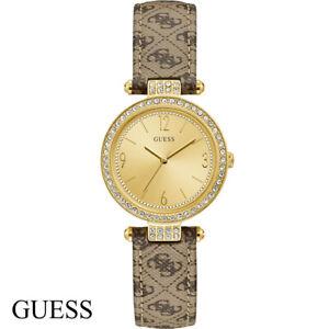 Guess-W1230L2-Terrace-gold-braun-Leder-Armband-Uhr-Damen-NEU