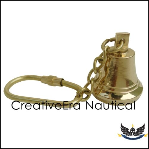 "Solid Brass Keychain key ring Replica Vintage Nautical Brass Bell Key Chain 4/"""