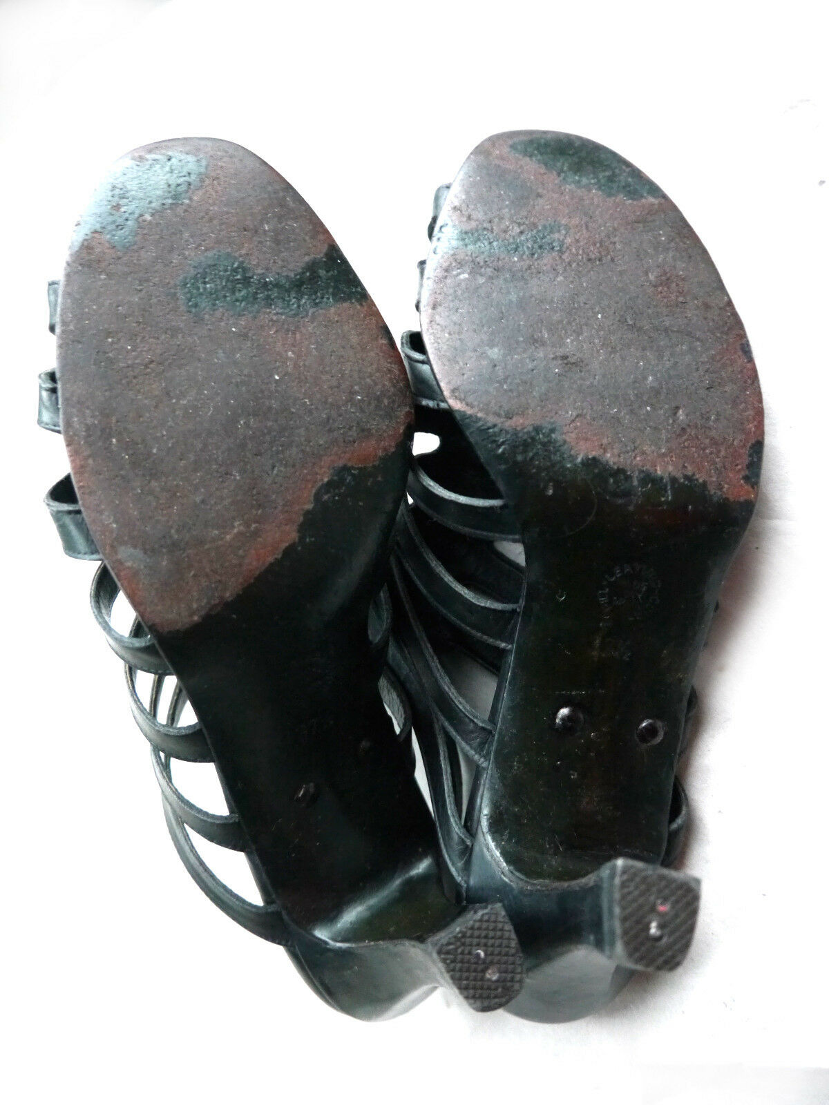 JIL SANDER-Sandaleetten 37,5 Schwarz Leder Römer-Peep-Toes Riemchen-Sandale