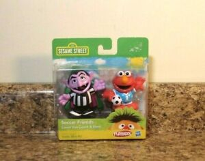 Details About Playskool Sesame Street Soccer Friends Count Von Count Elmo Figure Set New