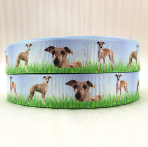 "Grosgrain Whippet Dog Printed Dog Breed Ribbon 7//8/"" 22mm"