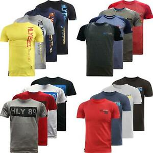 Da-Uomo-Hly-Printed-T-shirt-100-cotone-palestra-Athletic-Training-Tee-Top-Estate-Nuovo