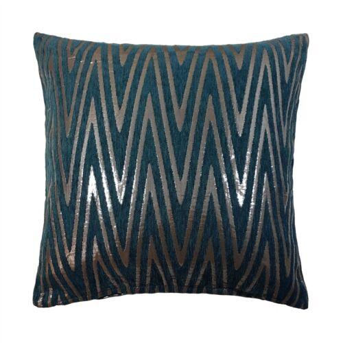 """X4 Zig Zag Turquoise Chenille Shiny Silver Moderne Brillant Housse de coussin Shop 18/"""" 45 cm"""