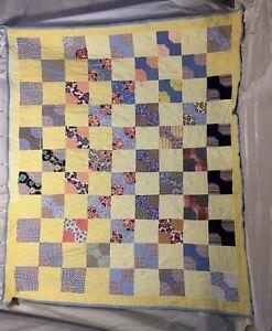 Vintage Handmade Bow tie Feed Sack Patchwork Quilt 50 Blocks ... : patchwork quilt handmade - Adamdwight.com