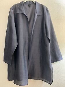 Eileen-Fisher-L-Gray-Silk-Linen-Semi-Sheer-Lightweight-Open-Jacket-Cardigan-Top