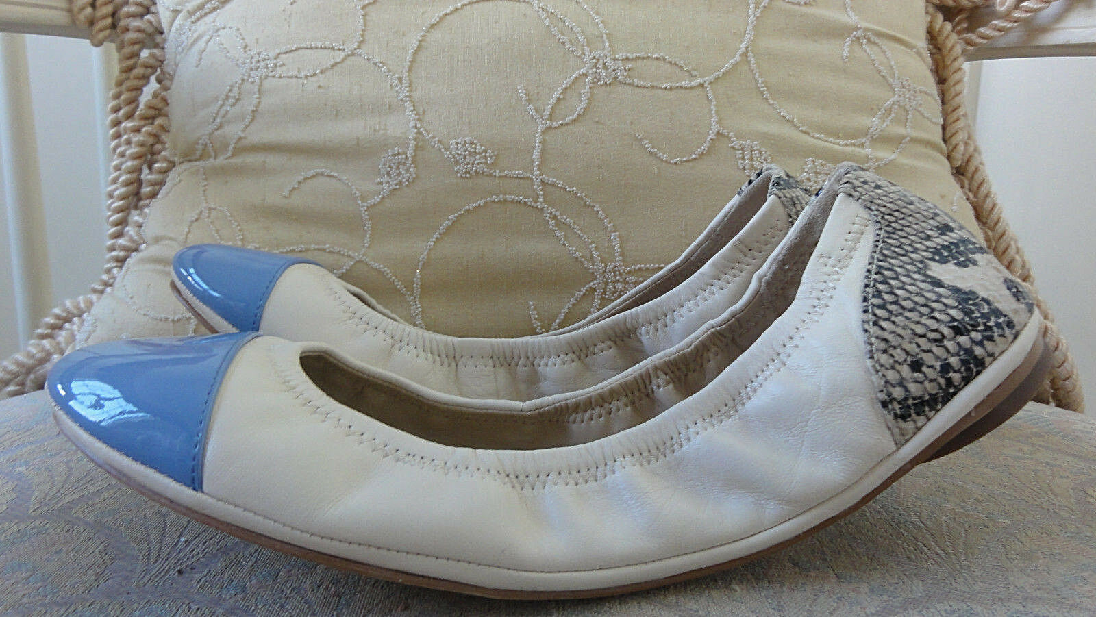 NEW SAKS FIFTH AVENUE LEATHER BALLET FLATS 10 WOMEN Blau CREAM SIZE 10 FLATS USA ded9a9