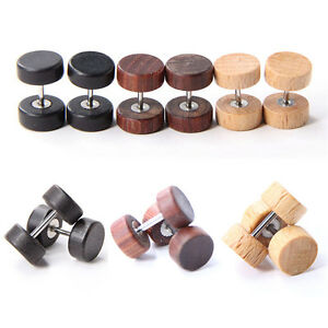 Vintage-Wood-Stainless-Fake-Cheater-Ear-Plugs-Barbell-Stud-Earring-Gauges-Pf