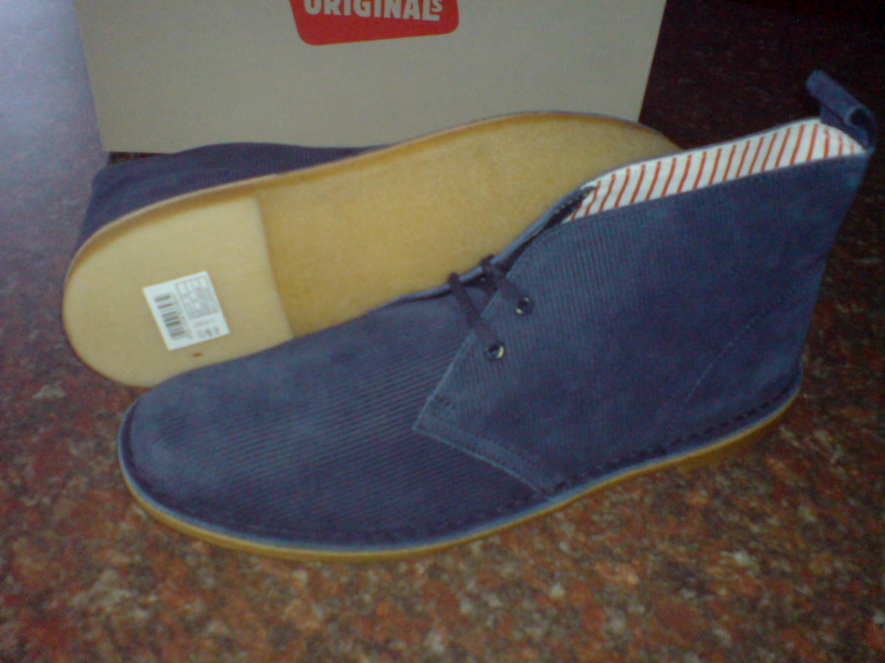 NUOVO CLARKS ORIGINALS ** Desert Boots ** X JAGUAR Navy in Pelle ** Uk 7.5 F