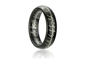 image is loading men 039 s laser engraved blacktungsten lord of - Lord Of The Rings Wedding Band