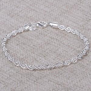 Damen-Armreif-Armkette-Kette-Armband-Gedreht-Silber-Plattiert-Schmuck-Geschenk