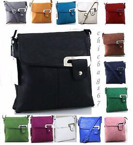 Ladies Faux Leather Casual Messenger Satchel Shoulder Cross body Bag Handbag
