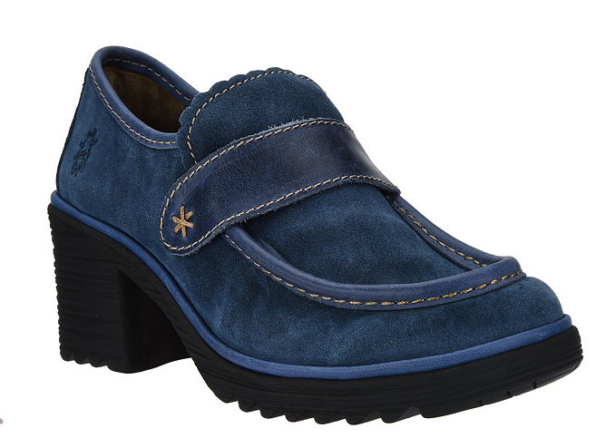FLY London Suede Loafers shoes Leather Trim Wend Ocean bluee EU37 US 6-6.5 New