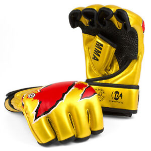 Gold-MMA-UFC-Sparring-Grappling-Boxing-Gloves-Fight-Punch-Mitts-Leather-Training