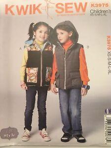 Kwik-Sew-Pattern-K3975-Jacket-Vest-Boys-Girls-Detachable-Hood-Sz-XS-XL-Uncut