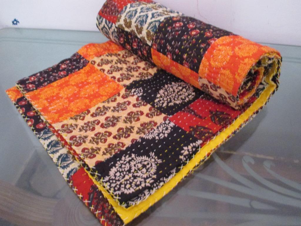 Patch Handmade Kantha`QuiltIndian Bedspread Throw Cotton Blanket Gudari Twin