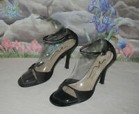 Newport News Black Satin & Rhinestone Heels Dress Sandals Sz 8