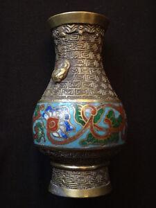 Ancien-vase-bronze-dore-cloisonne-chine-Old-enamel-chinese-golden-taotie-XIX