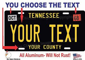 Details about Tennessee License Plate Personalized Custom Car Auto Bike  Motorcycle Moped BLACK