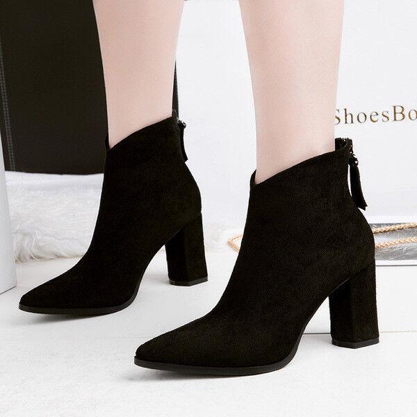 botas bajo zapatos tobillo negro 10 cm elegantes como piel 9674