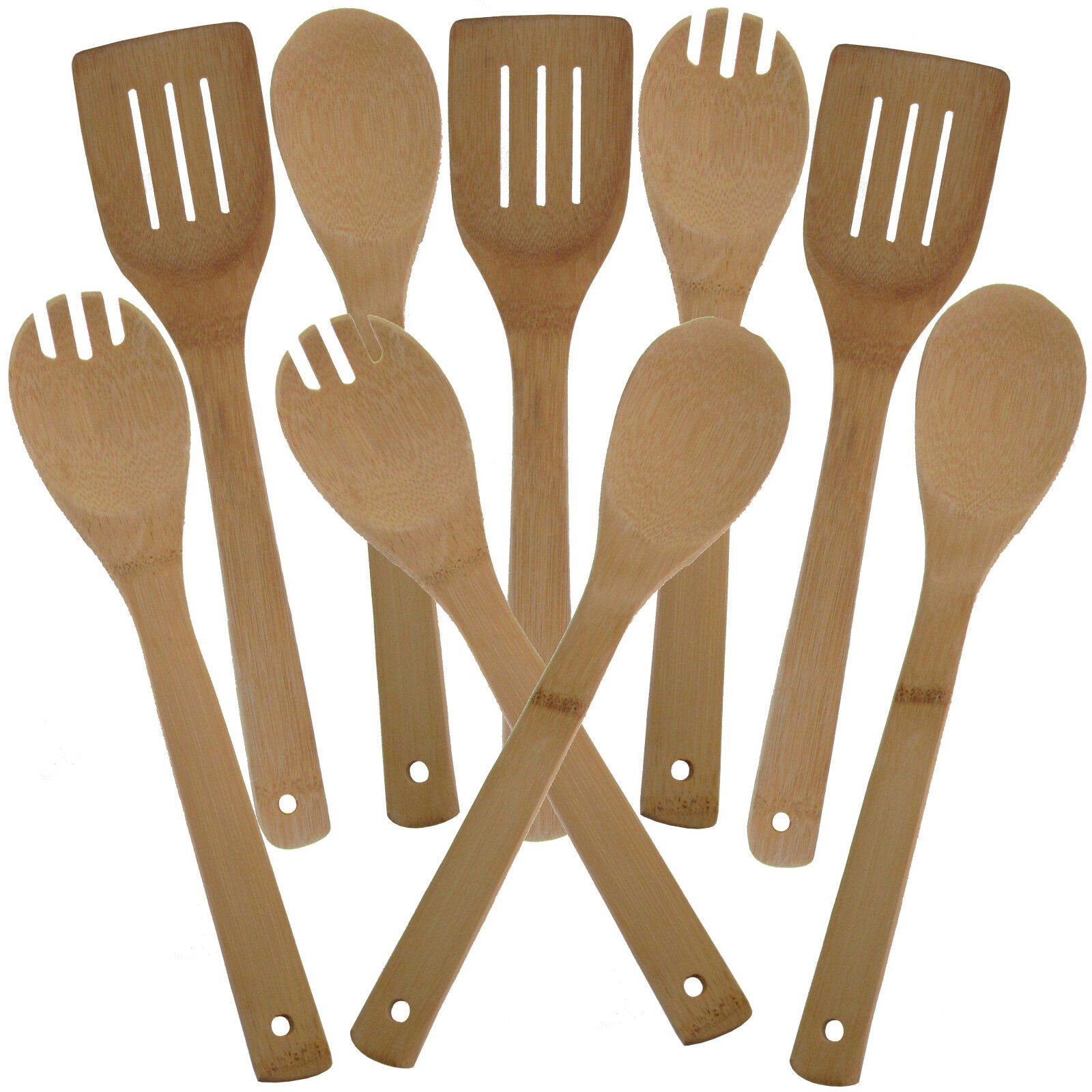 Bambusbesteck 9-Tlg Küchenutensilien Küchenuntensilienhalter Bambus Besteck