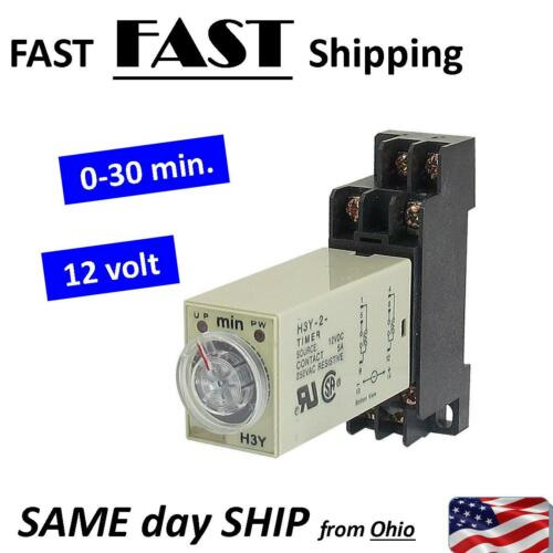12VDC 12v Dc timer relay 1 2 3 4 5 6 7 8 9 10 15 20 25 30 min minute relays