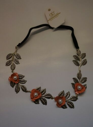 Gold-tone leaves Pink Coral Peach w// Pearl Metal flowers Hair Headband N50-8//22
