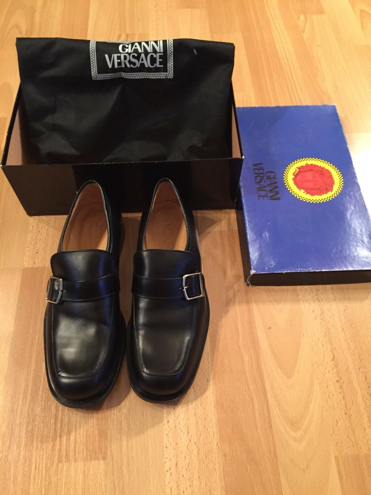 Gianni Versace Men nero Leather scarpe w  Strap & Buckle, Sz 41 Made in