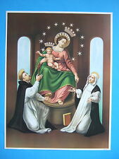 Catholic Print Picture OUR LADY OF POMPEI Rosary w/ St. Dominic Catherine 12x16""