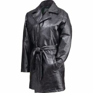 NWT-Ladies-Women-Basic-Genuine-Black-Leather-Coat-Jacket-Long-Belt-M-MEDIUM-GIFT