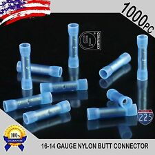 1000 Pack 16-14 Gauge Wire Butt Connectors Blue Nylon 16-14 AWG Crimp Terminals