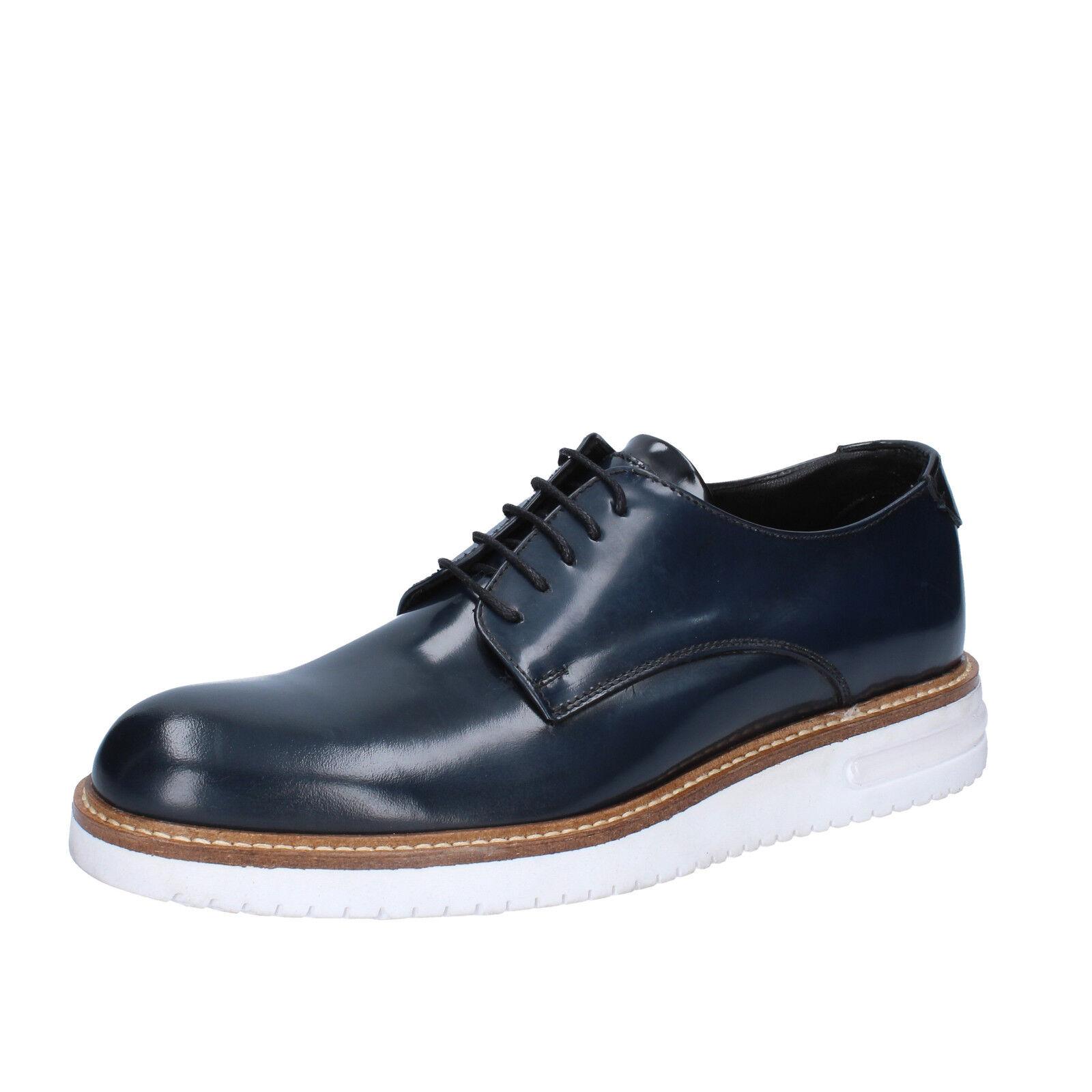 Scarpe uomo FDF shoes 39 UE BLU ELEGANTE bz346-b PELLE LUCIDA bz346-b ELEGANTE ecae03