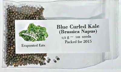 140 Blue Curled Kale Seeds All Natural Non GMO Freshly Packed For 2017