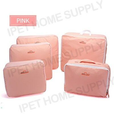 Travel Luggage Organizer 5pcs Packing Cube Pouch Suitcase Clothes Storage Bags